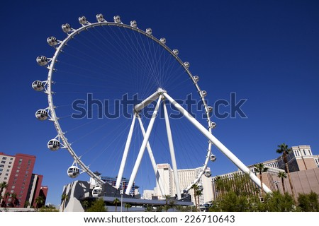 Las Vegas, Nevada, USA - Sept. 22, 2014: The High Roller Ferris Wheel which stands tall 550-foot and has a diameter of 520-foot in Las Vegas, Nevada, USA on September 22, 2014. - stock photo