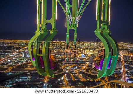 LAS VEGAS - NOV 08:thrill ride on the top of Stratosphere tower on November 08, 2012 in Las Vegas. Las Vegas in 2012 is projected to break the all-time visitor volume record of 39-plus million - stock photo