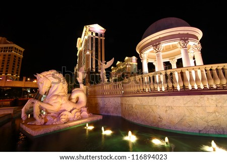 LAS VEGAS - NOVEMBER 30: Caesars Palace sculptures on November 30, 2011 in Las Vegas. Caesars Palace opened in the 1960's and has a Roman Empire theme. - stock photo