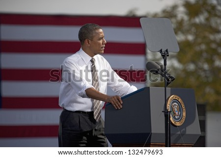 LAS VEGAS - NOVEMBER 01: President Barack Obama speaks at a 2012 Election Campaign rally at Cheyenne Sports Complex on November 01, 2012 in North Las Vegas, Nevada - stock photo