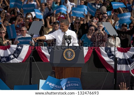 LAS VEGAS - NOVEMBER 01: President Barack Obama speaks at his Campaign Rally at Cheyenne Sports Complex on November 01, 2012 in North Las Vegas, Nevada - stock photo