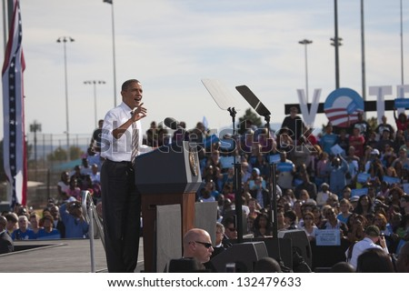 LAS VEGAS - NOVEMBER 01: President Barack Obama speaks at the Democratic Party Presidential Election Campaign at Cheyenne Sports Complex on November 01, 2012 in North Las Vegas, Nevada - stock photo