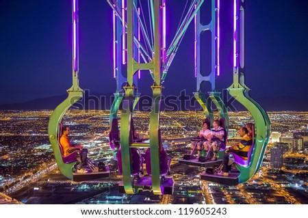LAS VEGAS - NOVEMBER 08: The x-stream thrill ride  on November 08, 2012 in Las Vegas. Las Vegas in 2012 is projected to break the all-time visitor volume record of 39-plus million visitors - stock photo