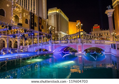 LAS VEGAS - NOVEMBER 08: Venetian Resort Hotel & Casino on November 08, 2012 in Las Vegas. Las Vegas in 2012 is projected to break the all-time visitor volume record of 39-plus million visitors - stock photo