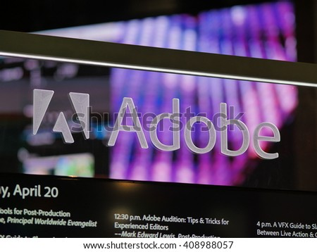 LAS VEGAS, NV - Adobe booth at NAB 2016, an annual trade show by the National Association of Broadcasters.1700+ exhibitors on 2000000 sq feet space of Las Vegas Convention Center. - stock photo