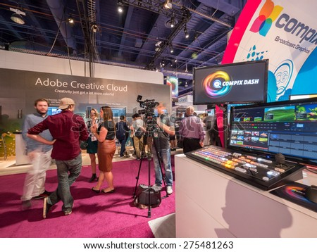 LAS VEGAS, NV - April 15: Compix at NAB Show 2015, an annual trade show by the National Association of Broadcasters.1726 exhibitors on 2000000 sq feet space of Las Vegas Convention Center, April 13-16 - stock photo