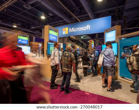 LAS VEGAS, NV - April 15: Microsoft at NAB Show 2015 exhibition. NAB Show is an annual trade show produced by the National Association of Broadcasters in Las Vegas Convention Center during April 13-16 - stock photo