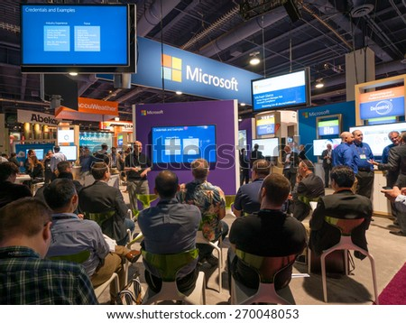 LAS VEGAS, NV - April 15: Presentation at Microsoft booth at NAB Show 2015 exhibition in Las Vegas, NAB Show is an annual trade show produced by the National Association of Broadcasters. - stock photo