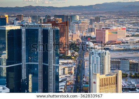 LAS VEGAS, NV - AUGUST 12: View of Las Vegas from Stratosphere Tower on August 12, 2015 in Las Vegas, USA. Las Vegas is one of the top tourist destinations in the world. - stock photo
