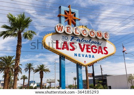 LAS VEGAS, NV - AUGUST 12: Welcome to Las Vegas sign on August 12, 2015 in Las Vegas, USA. Las Vegas is one of the top tourist destinations in the world. - stock photo
