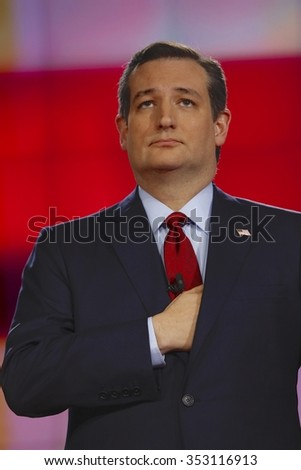 LAS VEGAS, NV - DECEMBER 15: Republican presidential candidate US Senator Ted Cruz holds hand over heart at CNN republican presidential debate at The Venetian, December 15, 2015, Las Vegas, Nevada - stock photo