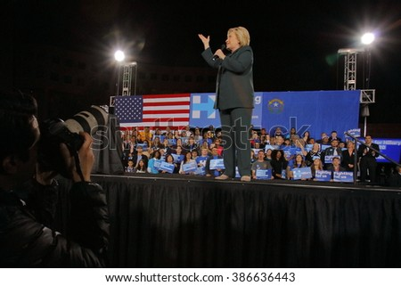 LAS VEGAS, NV - FEBRUARY 19 :Former Secretary of State Hillary Clinton speaks during a 'Get Out The Caucus' event at the Clark County Government Center on February 19, 2016 in Las Vegas, Nevada. - stock photo