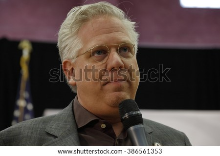 LAS VEGAS, NV - FEBRUARY 22: media commentator Glenn Beck speaks before Republican presidential candidate Sen. Ted Cruz at a rally at the Durango Hills Community Center on February 22, 2016 Las Vegas - stock photo