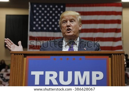 LAS VEGAS, NV - FEBRUARY 22: Republican 2016 presidential candidate Donald Trump speaks at a rally at the South Point Hotel & Casino on February 22, 2016 in Las Vegas, Nevada. - stock photo