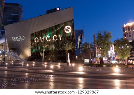 LAS VEGAS, NV - FEBRUARY 17:  The Crystals at City Center Retail District added over 500,000 s.f. of shopping on the Las Vegas Strip in Nevada, February 17, 2013. - stock photo
