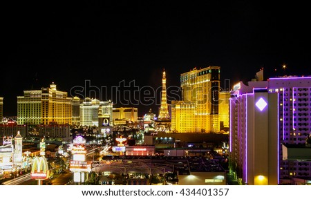 LAS VEGAS, NV - JUL 17, 2005: Vintage view of the Las Vegas Strip New York-New York. There are many cityscape change since there for this view doesn't exist any longer.  - stock photo