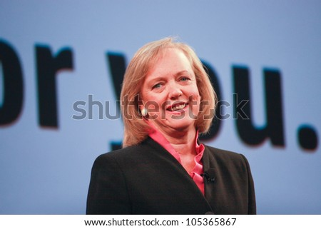 LAS VEGAS, NV - JUNE 5, 2012: HP president and chief executive officer Meg Whitman delivers an address to HP Discover 2012 conference on June 5, 2012 in Las Vegas, NV - stock photo