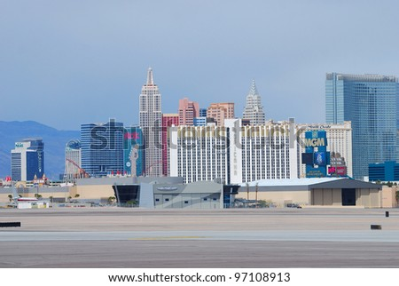 LAS VEGAS, NV - MAR 4: Las Vegas Strip with world class luxury hotels on March 4, 2010 in Las Vegas, Nevada. The Strip is 3.8 mile stretch featured with world class hotels and casino. - stock photo