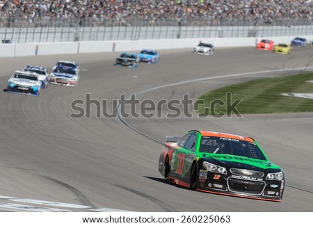 LAS VEGAS, NV - March 08: Danica Patrick (10) at the NASCAR Sprint Kobalt 400 race at Las Vegas Motor Speedway on March 08, 2015 - stock photo