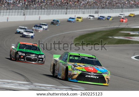 LAS VEGAS, NV - March 08: David Ragan (18) leading a pack of cars at the NASCAR Sprint Kobalt 400 race at Las Vegas Motor Speedway on March 08, 2015 - stock photo