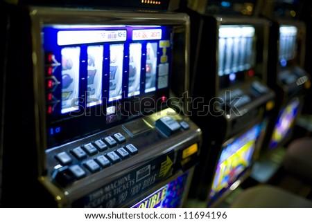 Las Vegas, NV March 2008:  Horizontal image of slot machines at a Las Vegas Casino. - stock photo