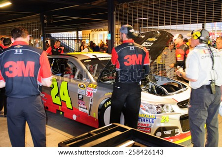 LAS VEGAS, NV - March 06:Inspection for Jeff Gordon's car at the  NASCAR Sprint Kobalt 400 race at Las Vegas Motor Speedway in Las Vegas, NV on March 06, 2015 - stock photo