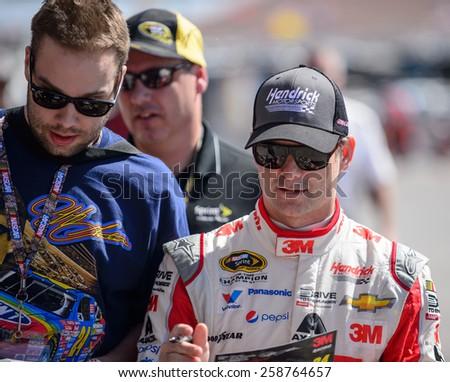 LAS VEGAS, NV - March 07: Jeff Gordon at the NASCAR Sprint Kobalt 400 practice at Las Vegas Motor Speedway in Las Vegas on March 07, 2015 - stock photo