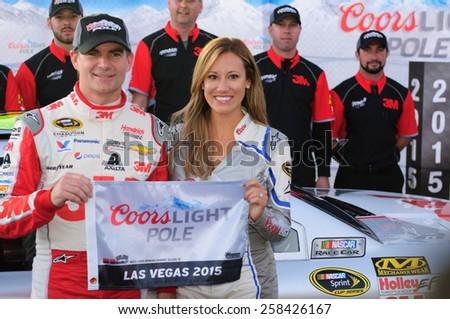 LAS VEGAS, NV - March 06: Jeff Gordon wins the pole at the NASCAR Sprint Kobalt 400 race at Las Vegas Motor Speedway in Las Vegas, NV on March 06, 2015 - stock photo