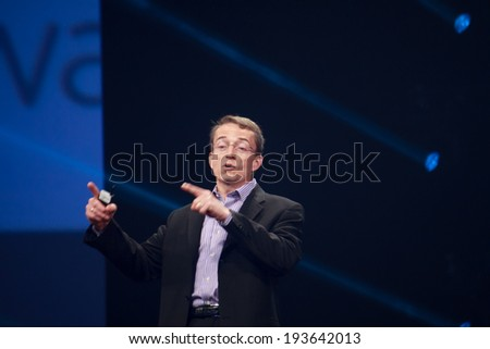 LAS VEGAS, NV -?? MAY 6, 2014: CEO VMware Pat Gelsinger makes speech at EMC World 2014 conference on May 6, 2014 in Las Vegas, NV  - stock photo