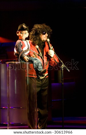 LAS VEGAS, NV - MAY 13, 2009: Impersonator/Ventriloquist Terry Fator impersonates Michael Jackson at his performance in the Terry Fator Theater at the MGM/Mirage May 13, 2009 in Las Vegas. - stock photo