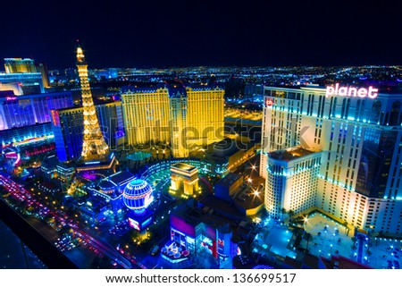 LAS VEGAS, NV - MAY 6: World famous Vegas Strip in Las Vegas, Nevada as seen at night on May 6, 2012. Stretching 4.2 miles, the Strip is home to the largest hotels and casinos in the world. - stock photo