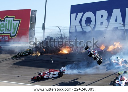 Las Vegas, NV - Oct 16, 2011:  Dan Wheldon, the 2011 Indianapolis 500 winner and one of the most popular drivers in open-wheel racing, died at Las Vegas Motor Speedway in a horrific multi car crash. - stock photo