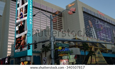 LAS VEGAS, NV - OCT 28: The famous Flamingo Hotel and Casino in Las Vegas, as seen on Oct 28, 2015. It was the third resort to open on the Strip & the oldest resort on the Strip still in operation. - stock photo
