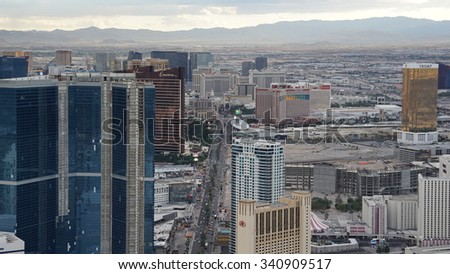 LAS VEGAS, NV - OCT 29: View of Las Vegas from the top of the Stratosphere Tower, as seen on Oct 29, 2015. The Stratosphere Tower is the tallest freestanding observation tower in the United States. - stock photo