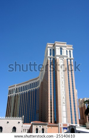 Las Vegas, NV - SEPT 01: And exterior shot of the Venetian hotel.  The Venetian complex is currently the largest hotel on the strip.  Sept. 01, 2008 in Las Vegas, NV. - stock photo