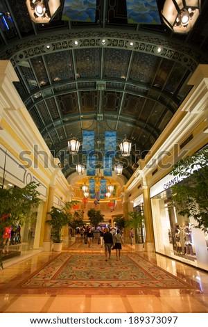 LAS VEGAS, NV, SEPTEMBER 12: The Bellagio Casino hallway with luxury shops - Las Vegas, Unites States 2012 - stock photo