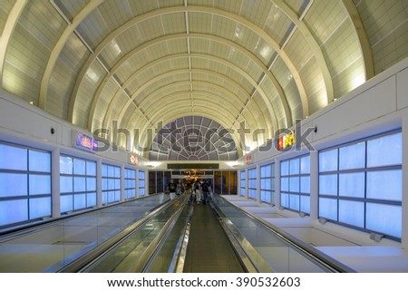LAS VEGAS, NV/USA - MAY 31, 2009: The entrance to Las Vegas monorail at Bally's Las Vegas in Las Vegas, Nevada. Bally's is located on the Strip and has over 2,800 rooms available for guests. - stock photo