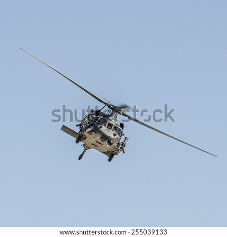 Las Vegas, NV, USA -November 09, 2014: Sikorsky HH-60G Pave Hawk helicopter in a rescue operation, Nellis Air Force Base, Aviation Nation 2014 airshow - stock photo