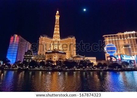 LAS VEGAS NV, USA - Sept 23, 2010: Night Panorama of Las Vegas Boulevard, The Strip. Hotels and casinos including The Paris and Ballys. Gambling and night life - stock photo