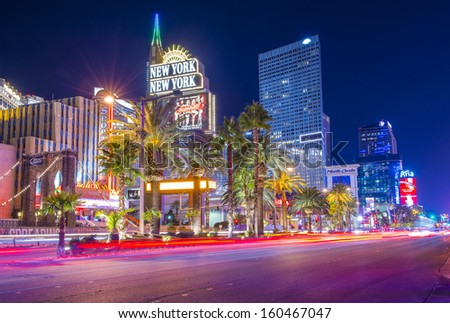 LAS VEGAS - OCT 23 : View of the strip on October 23, 2013 in Las Vegas. The Las Vegas Strip is an approximately 4.2-mile (6.8 km) stretch of Las Vegas Boulevard in Clark County, Nevada. - stock photo