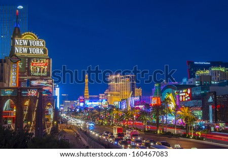 LAS VEGAS - OCT 23 : View of the strip on October 23 , 2013 in Las Vegas. The Las Vegas Strip is an approximately 4.2-mile (6.8 km) stretch of Las Vegas Boulevard in Clark County, Nevada. - stock photo