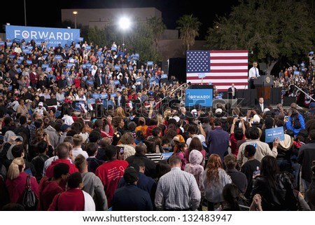 LAS VEGAS - OCTOBER 24: Campaign rally of Barack Obama at Doolittle Park on October 24, 2012 in Las Vegas, Nevada - stock photo