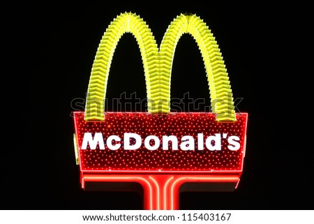 LAS VEGAS - OCTOBER 29: Fancy McDonald's Restaurant Sign on October 29, 2011 in Las Vegas.  The company originated in the 1940's and has expanded to over 30,000 locations worldwide. - stock photo