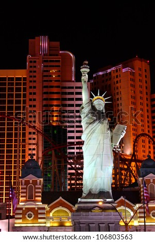 LAS VEGAS - OCTOBER 29: Statue of Liberty Replica at the New York New York Hotel and Casino on October 29, 2011 in Las Vegas.  The architecture is made to resemble like the skyline of New York City. - stock photo