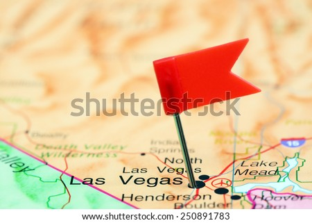 Las Vegas pinned on a map of USA  - stock photo