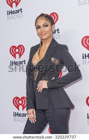 LAS VEGAS - SEP 19 : Actress/Singer Jennifer Lopez attends the 2015 iHeartRadio Music Festival at MGM Grand Garden Arena on September 19, 2015 in Las Vegas, Nevada. - stock photo