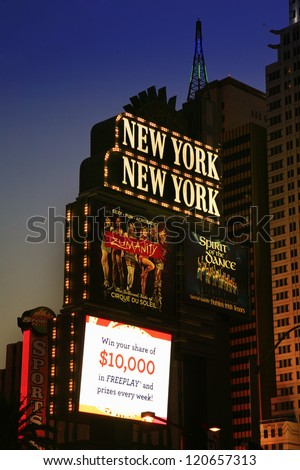 LAS VEGAS - SEP 4: New York-New York hotel casino creating the impressive New York City skyline with skyscraper towers and Statue of Liberty replica on September 4, 2012 in Las Vegas, Nevada. - stock photo