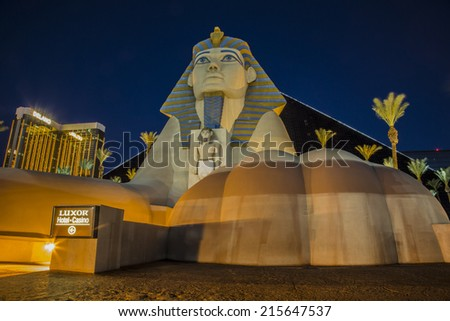 LAS VEGAS - Sep 05 2014 : View of Luxor Hotel on September 05 , 2014 in Las Vegas. Casinos line The Las Vegas Strip for an approximately 4.2-mile (6.8 km) stretch of Las Vegas Boulevard in Nevada.  - stock photo