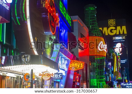 LAS VEGAS - SEP 03 : View of the strip in Las Vegas on September 03 2015. The Las Vegas Strip is an approximately 4.2-mile (6.8 km) stretch of Las Vegas Boulevard in Clark County, Nevada. - stock photo