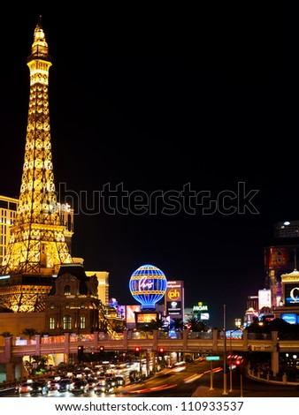 LAS VEGAS - SEPT 21: Eiffel Tower at night on September 21, 2011 in Las Vegas. This is the biggest copy of the Eiffel tower and its height is 170 meters - stock photo
